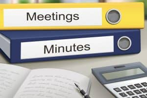meetings and minutes binders isolated on the office table